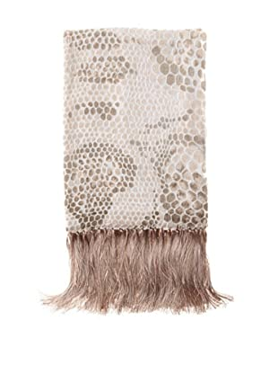 Kevin O'Brien Studio Snakeskin Velvet Throw with Fringe, Latte Cream