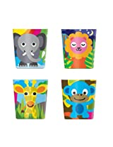 French Bull Kids 6 Ounce Melamine Juice Cup Set of 4, Jungle