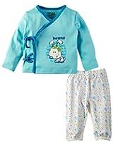 Infant Boys Tieup Jabla with Pyjama Set, Light Blue (6-9 Months)