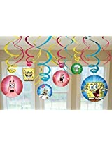 SpongeBob SquarePants Party Foil Hanging Swirl Decorations / Spiral Ornaments (12 PCS)- Party Supply