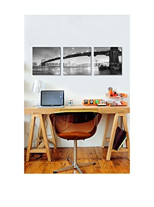 Moises Levy's Brooklyn Bridge Pano 1 Giclée Canvas Print Triptych