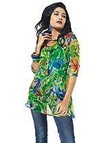 Garden Vareli Women's Tropical Twist Printed Tunic (63-3_Green_X Large)