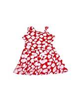 UNNATI RED COTTON SUMMER FROCK FOR GIRLS