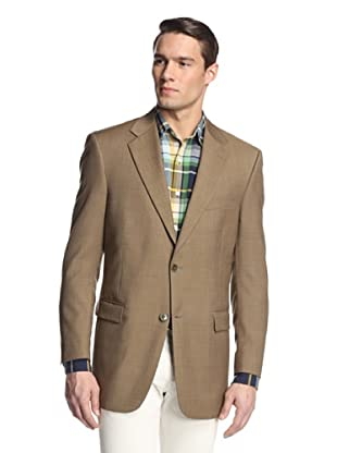 hickey Men's 2 Button Side Vent Pindot Sportcoat (Tan)