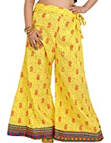 Exotic India Palazzo Pants from Pilkhuwa with Printed Paisleys and Patch Border - Color Aurora YellowGarment Size Free Size