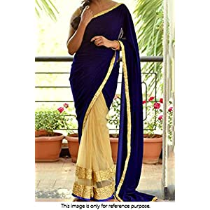 Bollywood Style Model Velvet and Net Saree In Blue and Off White Colour NC724