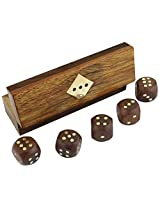 "Indian Handcrafted Wooden Game Dice Set in Storage Box Brass Inlay Art - 5"" x 1.5"" x 1.5"""