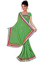 Kala Sanskruti Chiffon And Art Silk Bandhej Design Saree With Work [KSA3XI-57_Green]