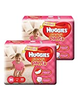 Huggies Ultra Soft Pants Medium Size Premium Diapers for Girls (2 x 30 Counts)