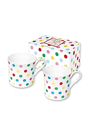 Easy Life Design Set 2 Mug in Porcellana Bone China Happy Pois (Multicolore)