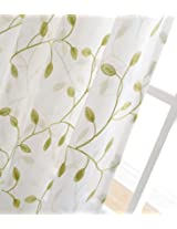 cotton and linen embroidered voile tulle curtains for living room sheer curtain for bedroom luxury window curtain(1pc) (W150CM x L265CM, White and Green)