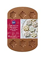 Wilton Industries 2105-2502 12 Cavity Copper Colored Snowflake Cookie Pan, Copper