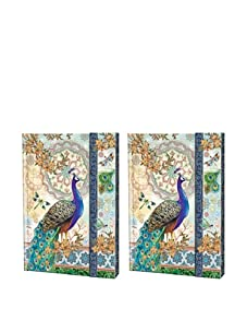 Punch Studio Set of 2 Journals with Magnetic Flap Closure, Peacock