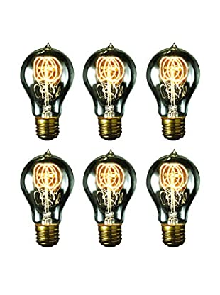 Bulbrite 6-Pack 40-Watt Nostalgic Edison A19 Bulbs with Vintage Quad Loop Filaments, Smoke