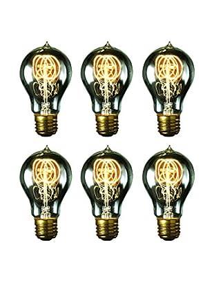 Bulbrite 6-Pack 40-Watt Nostalgic Edison A19 Bulbs with Vintage Quad Loop Filaments, Smoke