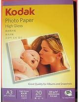 KODAK 230GSM A3 (297x420mm) INKJET HIGH GLOSS PAPER 20 SHEETS