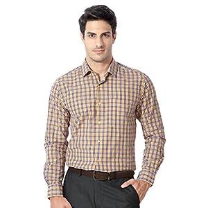 Peter England Yellow Slim Fit Plaid Shirt