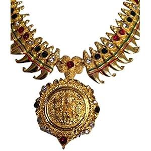 Antique temple jewellery gold laxmi necklace