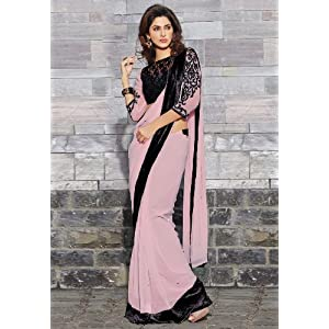 Light Dusty Pink Faux Georgette Saree with Blouse