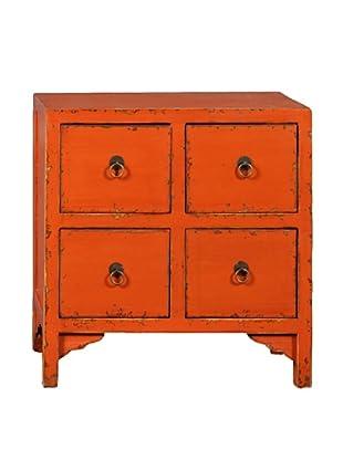 Antique Revival 4-Drawer End Table, Orange