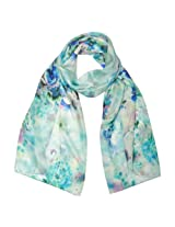 Wrapables Luxurious 100% Charmeuse Silk Long Scarf, Dreamy Blue Flora