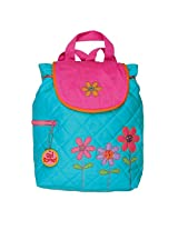 Stephen Joseph Girls Quilted Backpack Bag (Teal & Pink Flower)