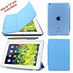 Elite Ultra Thin Smart Flip Foldable Flip Case cover for Apple iPad Mini 1 & 2 Retina Tablet with stylus (Sleep/wakeup) (Sky Blue)