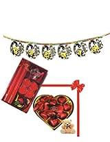Skylofts 9pc Heart Shaped chocolate box with a cute teddy, a candle diya set & a bandanwaar Diwali combo