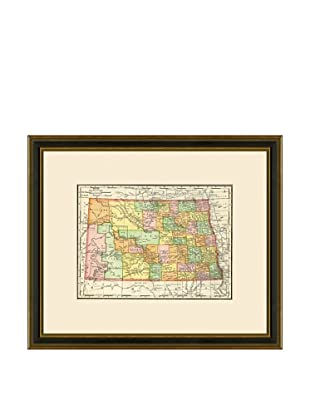 Antique Lithographic Map of North Dakota, 1886-1899