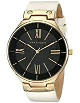 Anne Klein Women's AK/1612BKIV Gold-Tone Ivory Leather Strap Watch