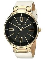 Anne Klein Women's AK/1612BKIV Gold-Tone Ivory Leather Strap Watch