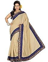 Utsav Fashion Women's Beige Art Silk Saree with Blouse