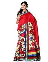 Riti Riwaz Red Bhagalpuri Silk Casual Saree with Unstitched Blouse NRV6501B