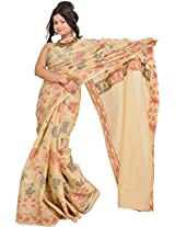Exotic India Banana-Crepe Banarasi Saree with Woven Flower All-Over - Beige