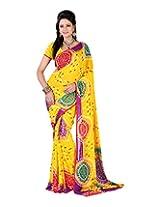 Jai Maa Ambey Creation Women's Georgette Saree (Yellow)