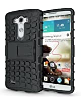 JKase DIABLO Series Tough Rugged Dual Layer Protection Case Cover with Build in Stand for LG G3 - Black