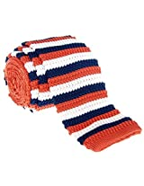 "Retreez Elegant Three Colors Stripes Men's 2.4"" Skinny Knit Tie - Navy Blue and Orange and Cream"