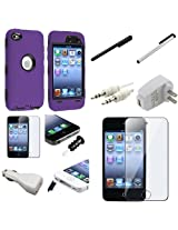 eForcity Deluxe Hybrid Case Cover with 10x Accessory Bundle for iPod touch 4G (Purple)