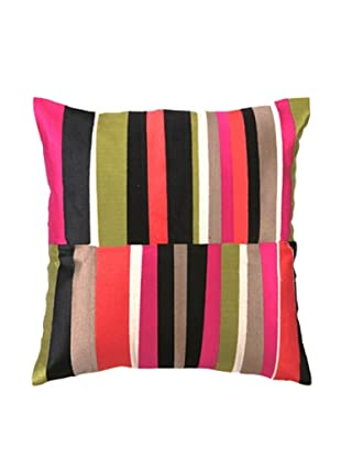 Trina Turk Watercolor Stripe Embroidery Linen Pillow (Pink)