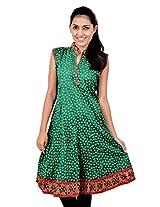Kala Sanskruti Women's Cotton Silk Green Kurti