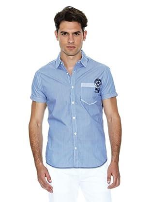 Salsa Camisa Manga Corta (Azul / Blanco)