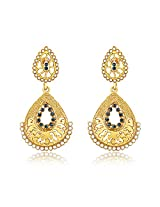Donna Traditional Ethnic Double Drop Danglers Earrings with Crystals For Women ER30054G