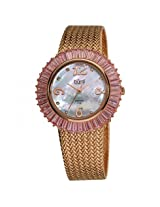 Burgi Mother Of Pearl Dial Rose-Tone Brass Mesh Ladies Watch - Bi076Pk