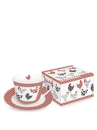 Easy Life Design Tazza Colazione con Piatto in Porcellana Poule 400 ml