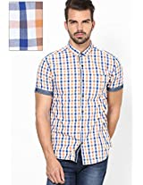 Checks Orange Casual Shirt