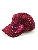 Glitzy Game Flower Sequin Trim Baseball Cap (Maroon with Flowers)