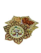 eCraftIndia Metal Star Design Dry Fruit Box with 3 Partitions (LxWxH - 10INx10INx2IN)