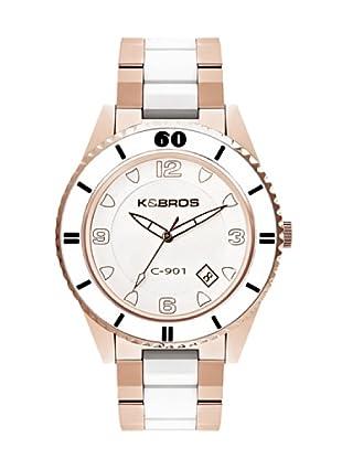 K&BROS 9113-4 / Reloj Unisex  con brazalete metálico blanco