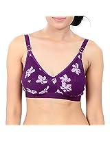 Fashigo Womens Floral Bra (Colour :Purple) (Size :34B)