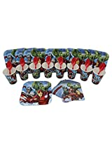Marvel Avengers Cake Plate, Napkins, Cups, and Spoons Birthday Party Set for 8